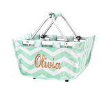Personalized Mini Market Tote Navy Mint
