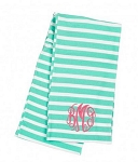 Monogrammed Mint Striped Inifinity Scarf