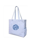 Monogrammed Seersucker Diaper Bag-Pink or Blue