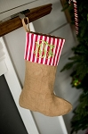 Monogrammed Burlap Stockings with Red and Green Stripes