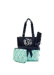 Monogrammed Vine Print Quilted Diaper Bag 3 Piece Set