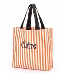 Personalized Orange Stripe Trick or Treat Tote