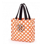 Personalized Orange Polka Dot Trick or Treat Tote