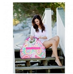 Monogrammed Summer Paisley Beach Bag