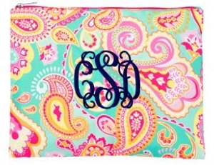 Monogrammed Paisley Zip Pouch