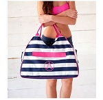 Monogrammed Prep Stripe Print Beach Bag
