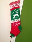 Hand-Knit Personalized Reindeer Stocking