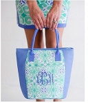 Monogrammed Sea Tile Cooler Tote