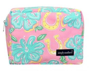Simply Southern Blue Hibiscus Cosmetic Bag