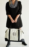 Monogrammed Sullivan Canvas Overnight Bag-Black