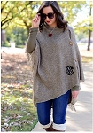 Monogrammed Ladies Taupe Knit Poncho Wrap
