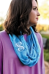 Monogrammed Solid Aqua Infinity Scarf