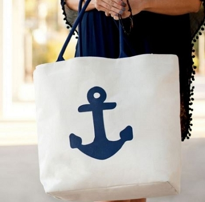 Monogrammed Anchor Tote Bag