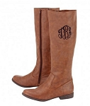Monogrammed Brown Riding Boots
