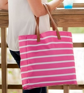 Monogrammed Hot Pink Striped Tote Bag