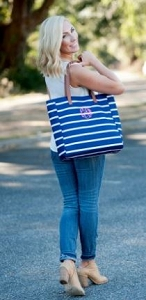 Monogrammed Navy Striped Tote