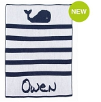 Monogrammed Whales and Stripes Knit Blanket