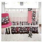 Monogrammed Urban Zoo Baby Bedding in Pink
