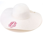Monogrammed Ladies' White Floppy Hat