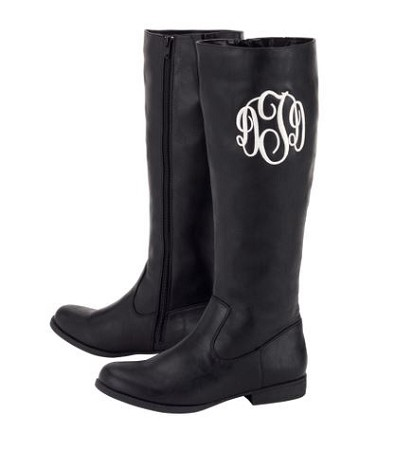 Monogrammed Black Riding Boots