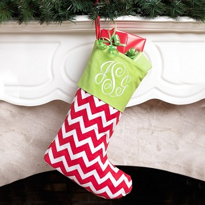 Monogrammed Red Chevron Stripe Stocking