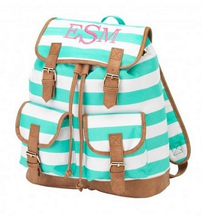 Personalized Mint Stripe Campus-Style Backpack