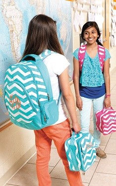"Personalized ""Aqua Chevron"" Big Kid Size Backpack"
