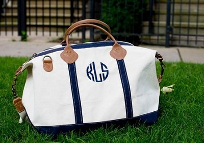 Monogrammed Navy Blue Overnight Duffle