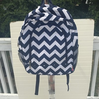 Personalized Navy Chevron Backpack-Big Kid Size
