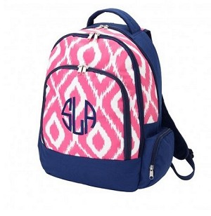"Personalized ""Pink Ikat"" Big Kid Size Backpack"