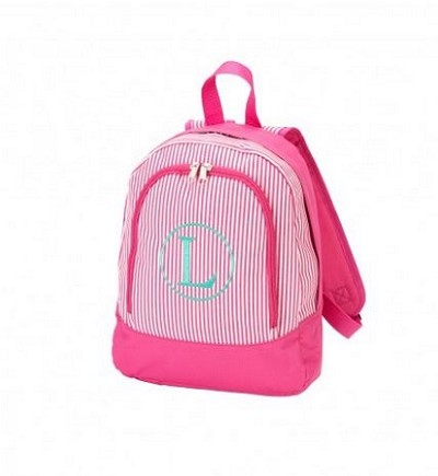 Personalized Pink Pinstripe Preschool Size Backpack