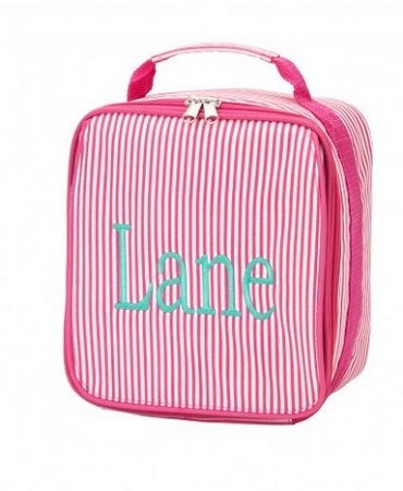 Personalized Pink Pinstripe Child's Lunchbox