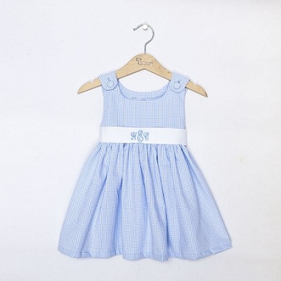 Monogrammed Blue Gingham Dress with White Sash