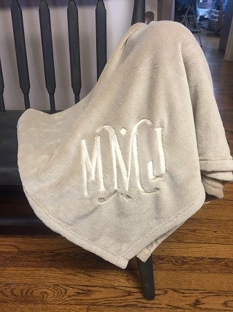 Monogrammed Plush Throw Blanket