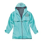 Monogrammed Ladies Aqua Rain Coat