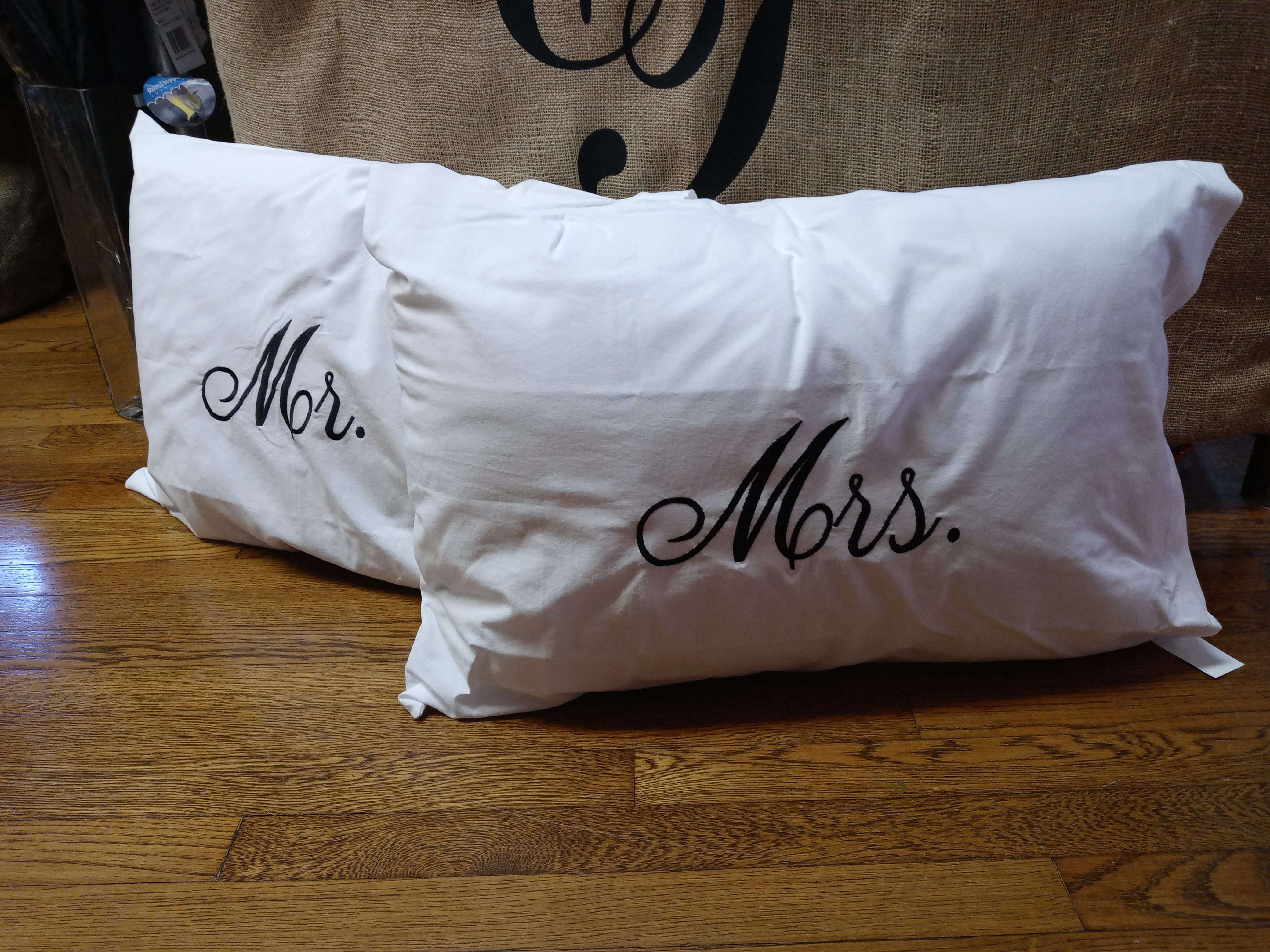 Monogrammed Mr  & Mrs Pillowcases