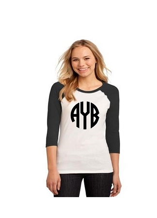 Printed Monogram Raglan T-Shirt Black