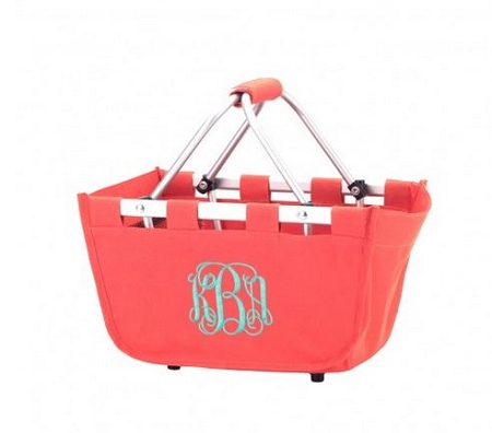 Personalized Mini Market Tote Coral
