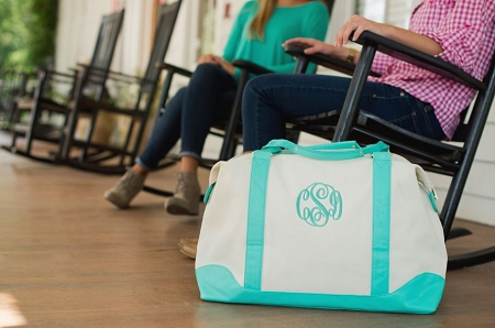 Monogrammed Sullivan Canvas Overnight Bag-Mint