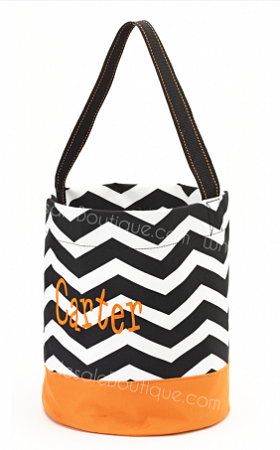 Personalized Black and White Chevron Trick or Treat Bucket