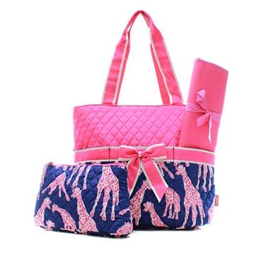 Super Cute Pink Giraffe Diaper Bag Set