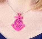 Monogrammed Acrylic Anchor Cutout Necklace
