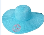 Monogrammed Ladies' Aqua Floppy Hat