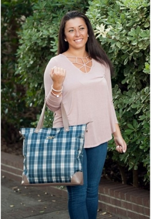 Monogrammed Middleton Plaid Shoulder Bag
