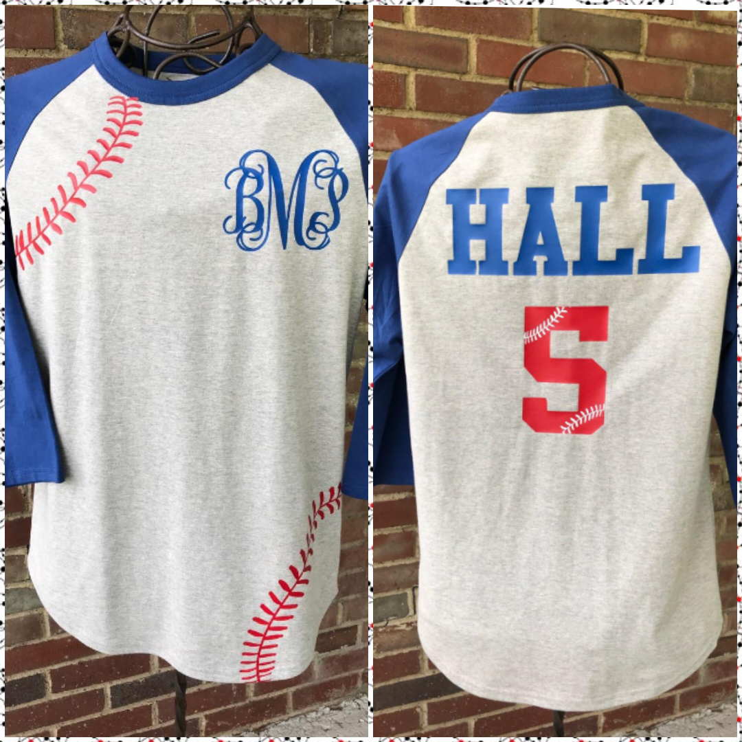 Personalized Baseball Raglan- Available in plus size !