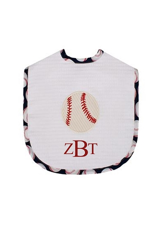 Monogrammed Applique Baseball Bib-Large