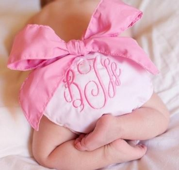 Monogrammed Pink Bow Diaper Cover