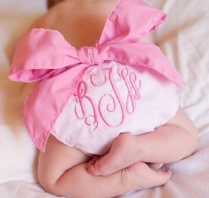 Monogrammed Bow Diaper Cover-Pink with Hot Pink Bow