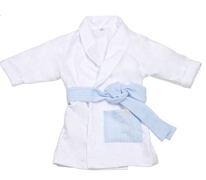 Monogrammed Blue Seersucker Child's Robe