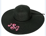 Monogrammed Ladies' Black Floppy Hat